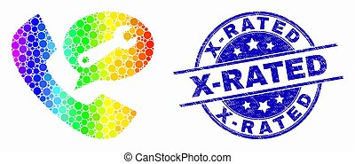 Vector Spectrum Dot Phone Service Message Icon and Distress X-Rated Stamp Seal
