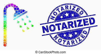 Vector Spectrum Dot Shower Stream Icon and Distress Notarized Stamp