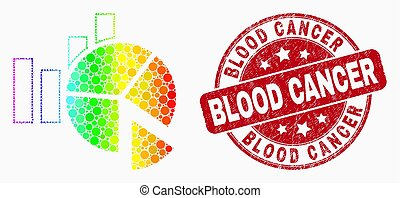 Vector Spectrum Dot Statistics Charts Icon and Grunge Blood Cancer Seal