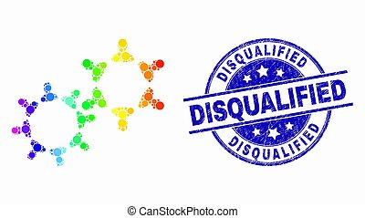 Vector Spectrum Dot User Collaboration Icon and Distress Disqualified Stamp Seal