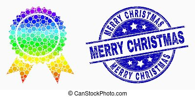 Vector Spectrum Dotted Certificate Seal Icon and Grunge Merry Christmas Stamp Seal
