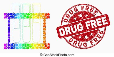 Vector Spectrum Dotted Chemical Test Tubes Icon and Grunge Drug Free Seal