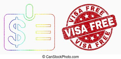 Vector Spectrum Dotted Dollar Badge Icon and Scratched Visa Free Stamp Seal