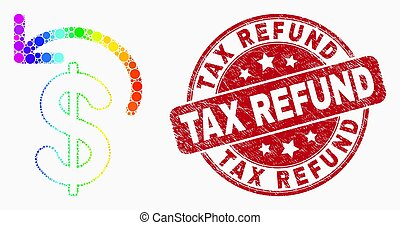 Vector Spectrum Dotted Dollar Refund Icon and Distress Tax Refund Stamp