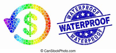 Pixel rainbow gradiented dollar refund mosaic pictogram and Waterproof stamp. Blue vector round grunge seal stamp with Waterproof caption. Vector composition in flat style.