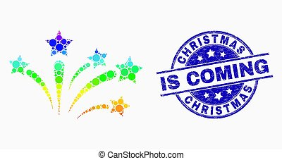 Vector Spectrum Dotted Fireworks Icon and Grunge Christmas Is Coming Stamp Seal