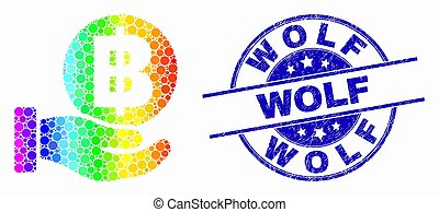 Vector Spectrum Dotted Hand Offer Bitcoin Icon and Grunge Wolf Watermark