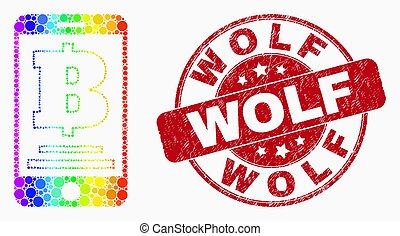 Vector Spectrum Dotted Mobile Bank Icon and Scratched Wolf Stamp Seal