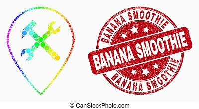 Vector Spectrum Dotted Service Map Pointer Icon and Scratched Banana Smoothie Stamp