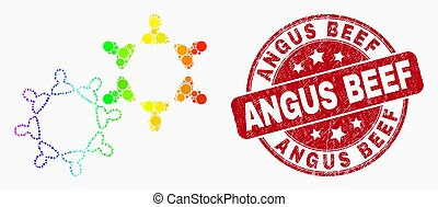 Vector Spectrum Dotted User Collaboration Icon and Grunge Angus Beef Watermark