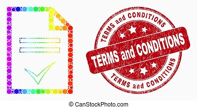 Vector Spectrum Pixel Agreement Page Icon and Scratched Terms and Conditions Stamp Seal