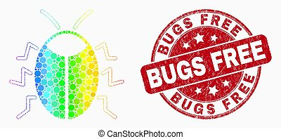 Vector Spectrum Pixel Bug Icon and Distress Bugs Free Stamp Seal