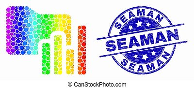 Vector Spectrum Pixel Charts Folder Icon and Scratched Seaman Stamp Seal
