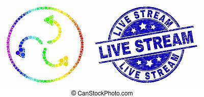 Vector Spectrum Pixel Cyclone Arrows Icon and Distress Live Stream Stamp