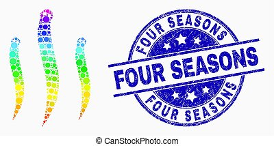 Dotted rainbow gradiented worms mosaic pictogram and Four Seasons seal stamp. Blue vector rounded textured stamp with Four Seasons phrase. Vector combination in flat style.
