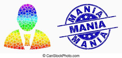 Vector Spectrum Pixelated Office Clerk Icon and Scratched Mania Watermark