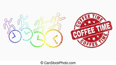 Vector Spectrum Pixelated People Run Over Clocks Icon and Distress Coffee Time Watermark