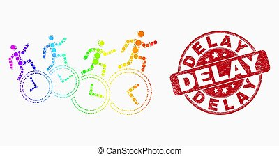 Vector Spectrum Pixelated People Run Over Clocks Icon and Distress Delay Stamp Seal