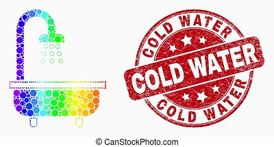 Vector Spectrum Pixelated Shower Bath Icon and Scratched Cold Water Watermark
