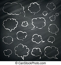 Vector Speech and Thought Bubbles on a Chalkboard Background