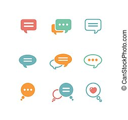 Vector Speech bubble icon set on white background isolated