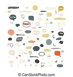 Vector speech bubble, stickers, arrows icon set