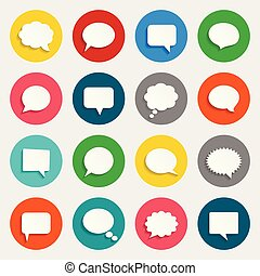 Vector speech bubbles icons in flat design with shadows