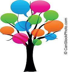 Vector speech bubbles on tree