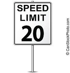 Vector speed limit sign - Vector illustration of twenty...