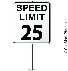 Vector speed limit sign - Vector illustration of twenty five...