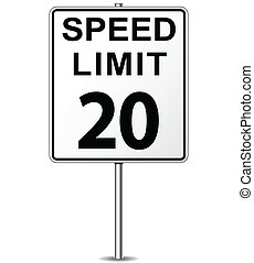 Vector speed limit sign - Vector illustration of twenty...