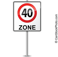 Vector speed limit zone sign - Vector illustration of speed ...