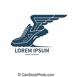 Vector speeding running shoe symbol, icon or logo - Speeding...