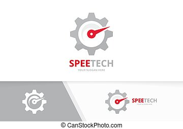 Vector speedometer and gear logo combination. Tachometer and...