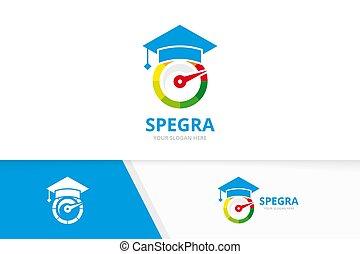 Vector speedometer and graduate hat logo combination. ...