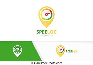 Vector speedometer and map pointer logo combination. ...