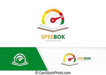 Vector speedometer and open book logo combination. ...