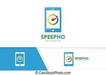 Vector speedometer and phone logo combination. Tachometer ...