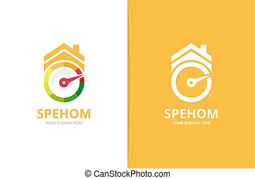 Vector speedometer and real estate logo combination. Tachometer and house symbol or icon. Unique speedo and rent logotype design template.