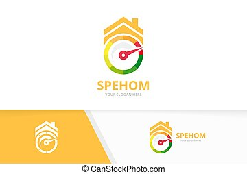 Vector speedometer and real estate logo combination. ...