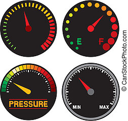 vector speedometer (dashboard speedometer icons, speed meter...