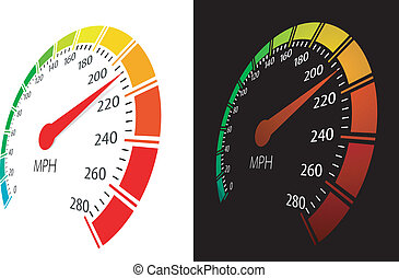 Vector speedometer with moving arrow and high speed in perspective view