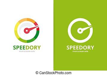 Vector speedometer logo combination. Unique speedo logotype design template.