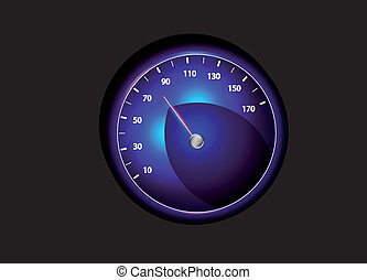 Vector speedometer - Vector blue speedometer with...