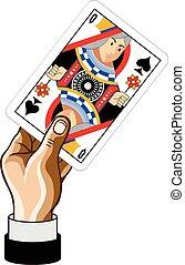 vector, spel, koningin, kaart hand