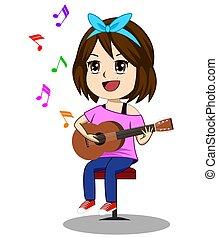 vector, spelend, aantekening, boven, schattig, witte achtergrond, gitaar, meiden, illustratie, zwevend