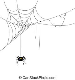 Vector Spider and a Web - Vector Illustration of a Spider...