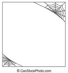 Vector spider web corner on a white background.