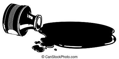 Vector spilled ink bottle icon