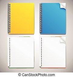 vector, spiraal, ring, notitieboekjes